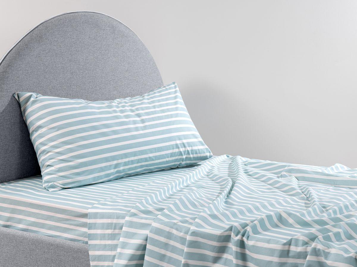 Stripe Blue Cotton Sheet Set - Single