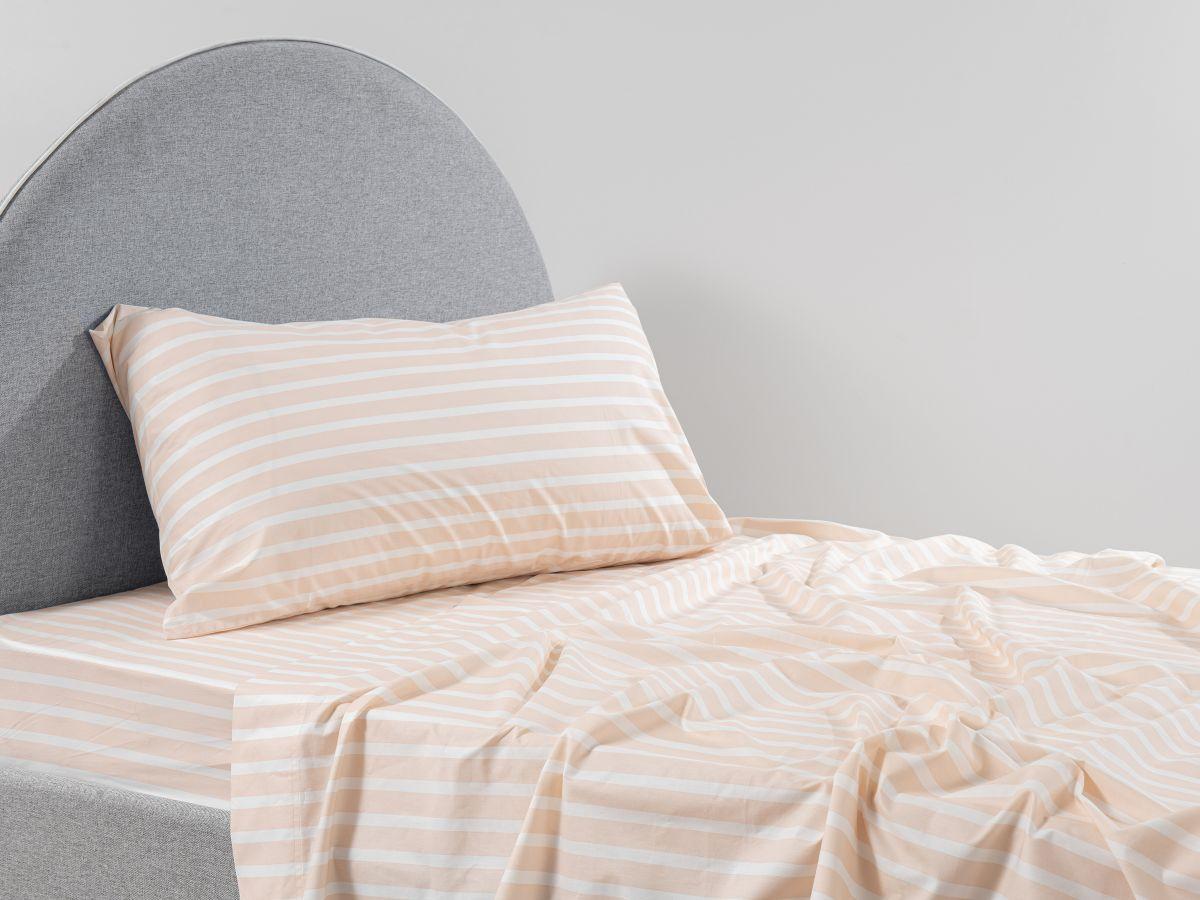 Stripe Peach Cotton Sheet Set - King Single