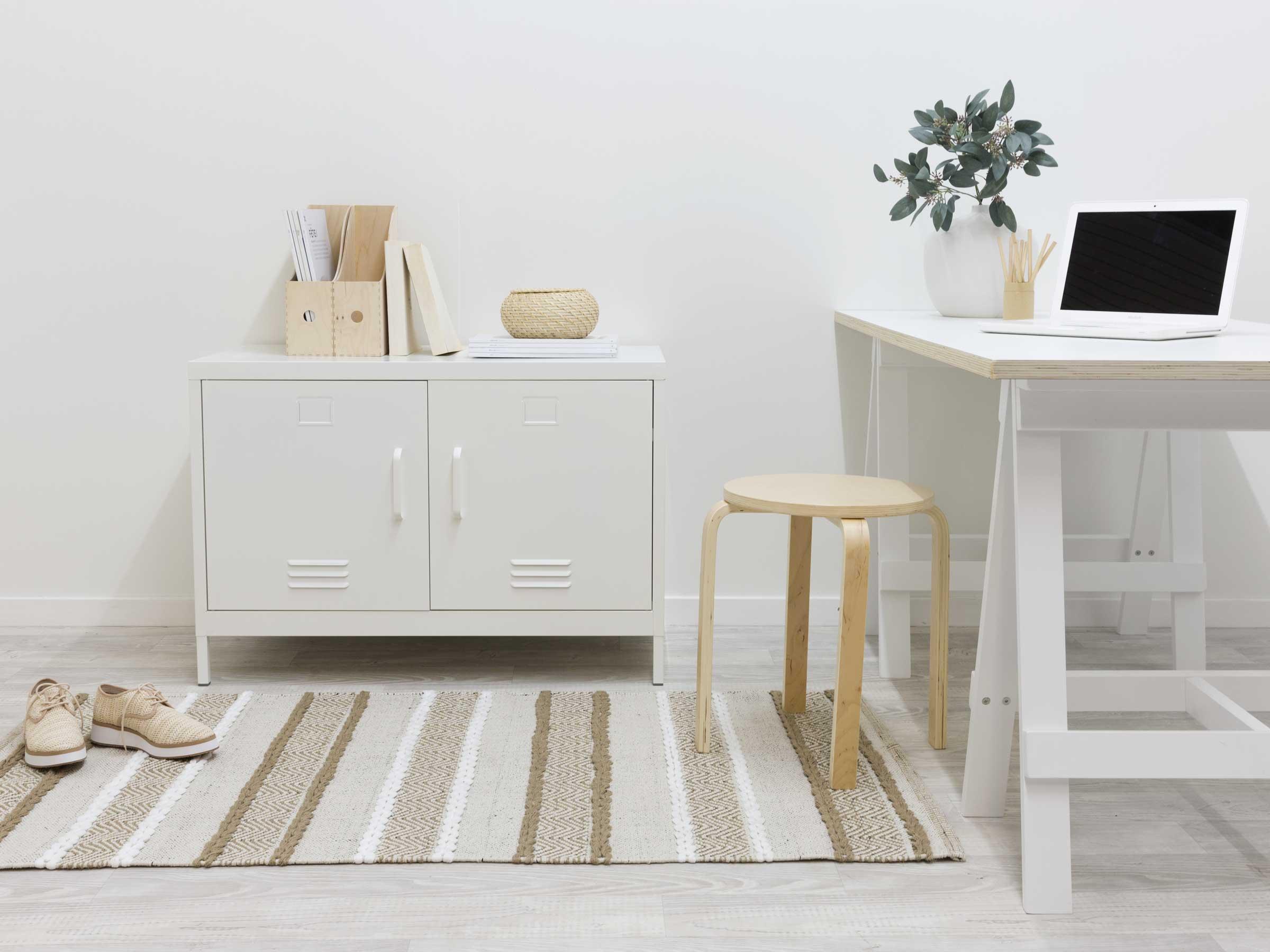 Two Door Storage Locka - White