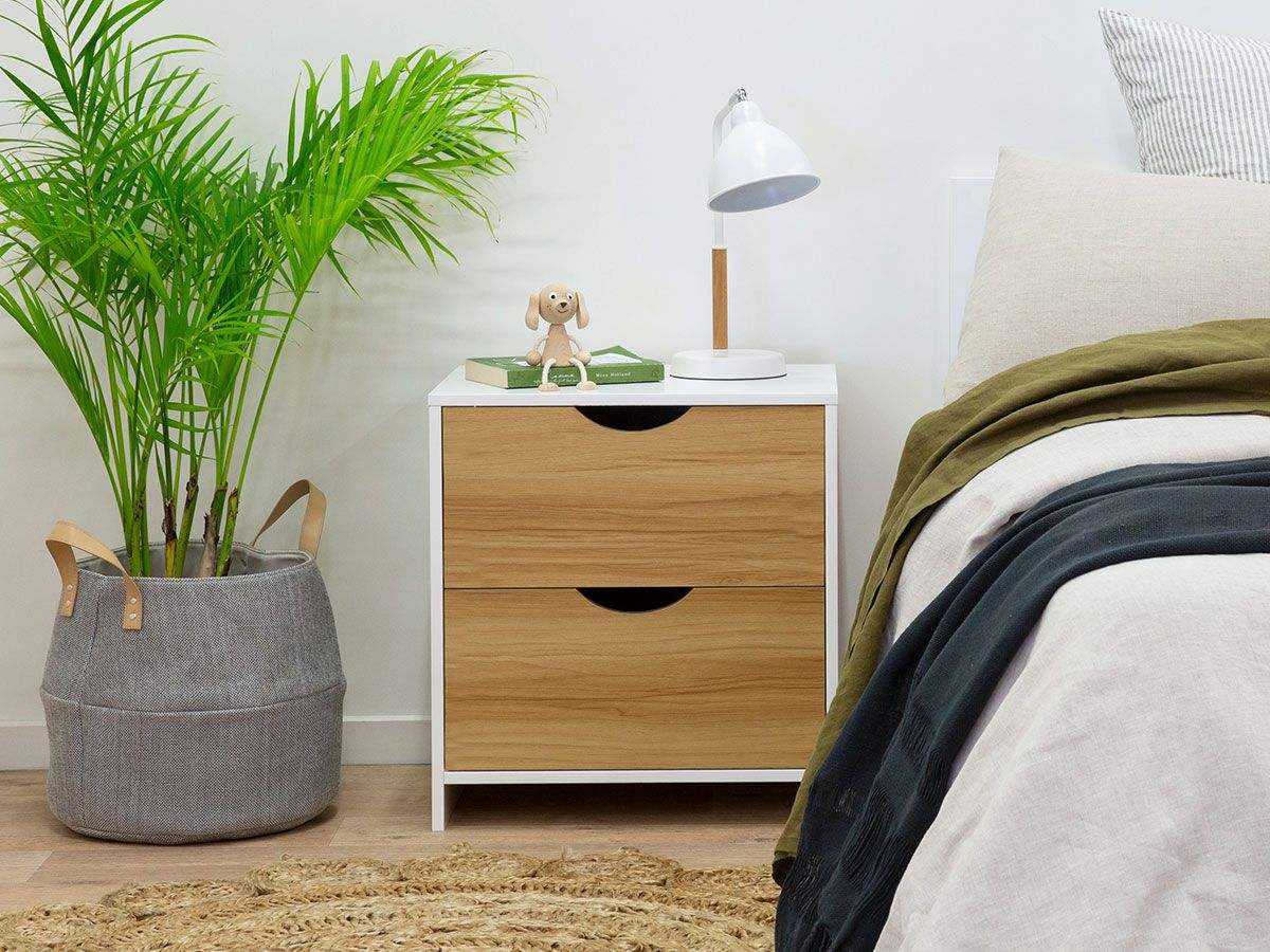 Brooklyn Bedside Table - White / Natural