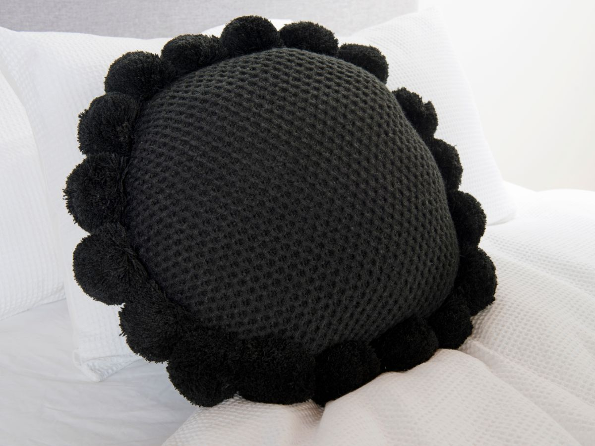 Pom Pom Cushion - Black