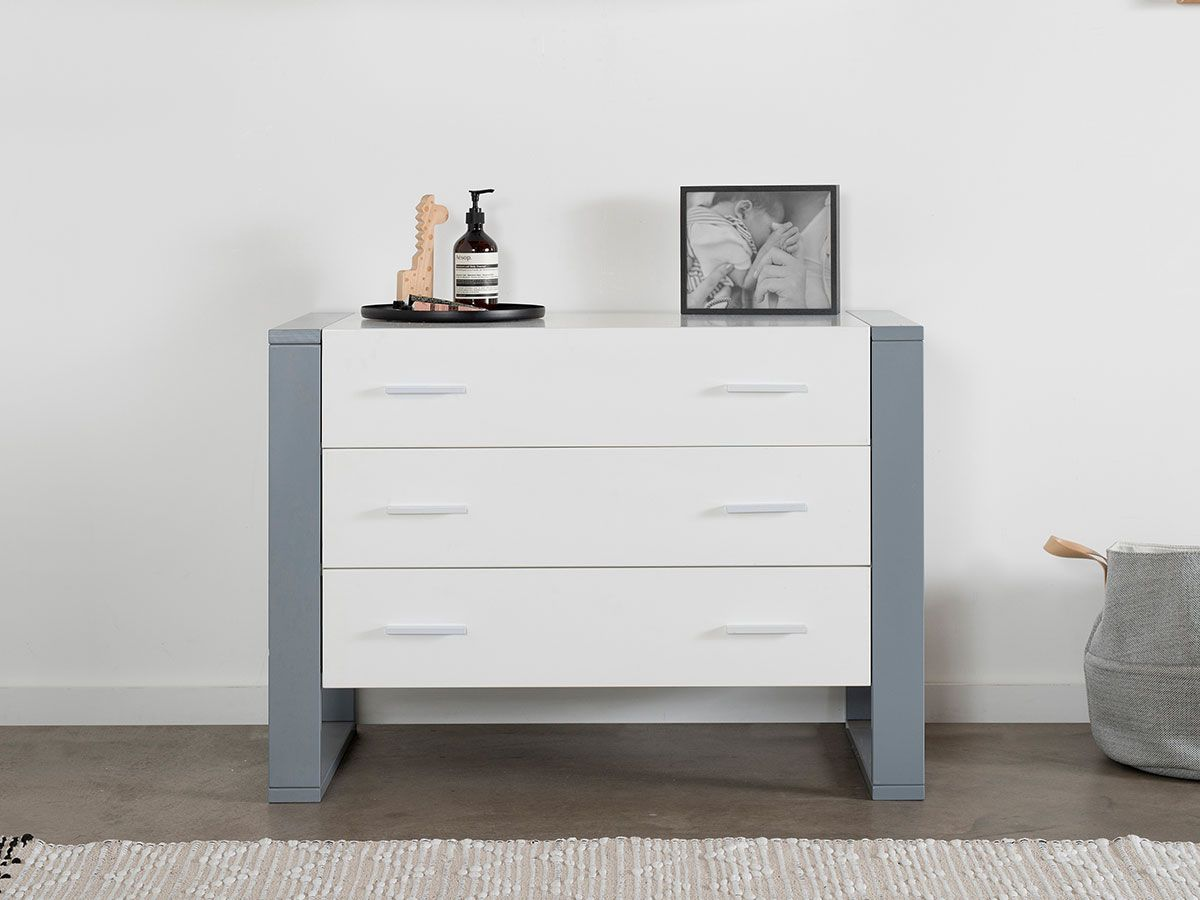 Boston Three Drawer - White/Grey