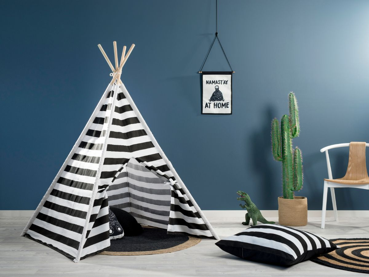 Henley Teepee - Monochrome Stripe