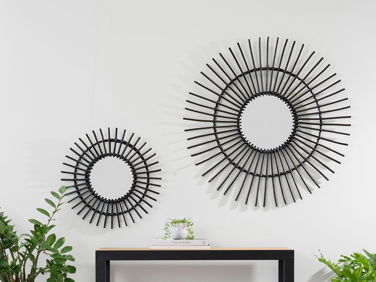 Wicker Mirror - Large - Black