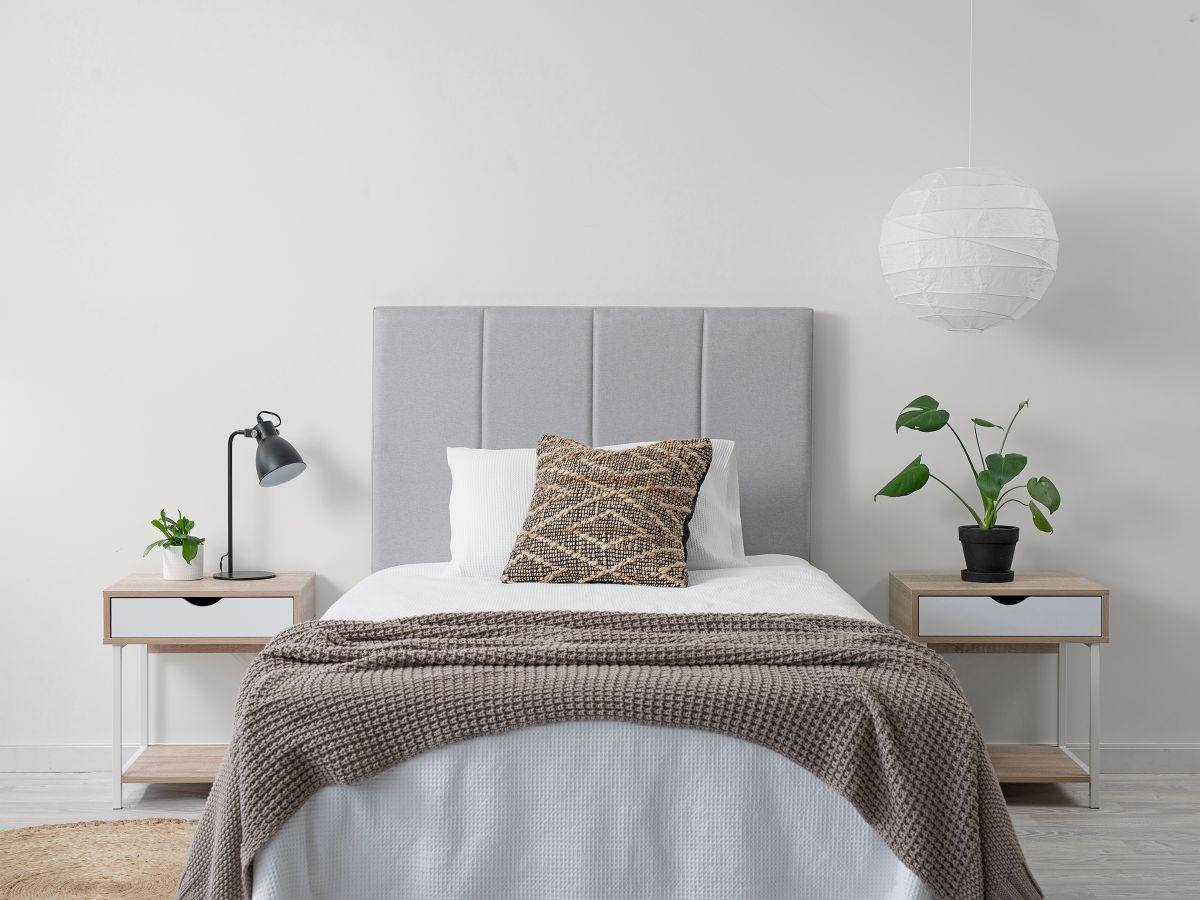 Regent King Single Bedhead - Light Grey