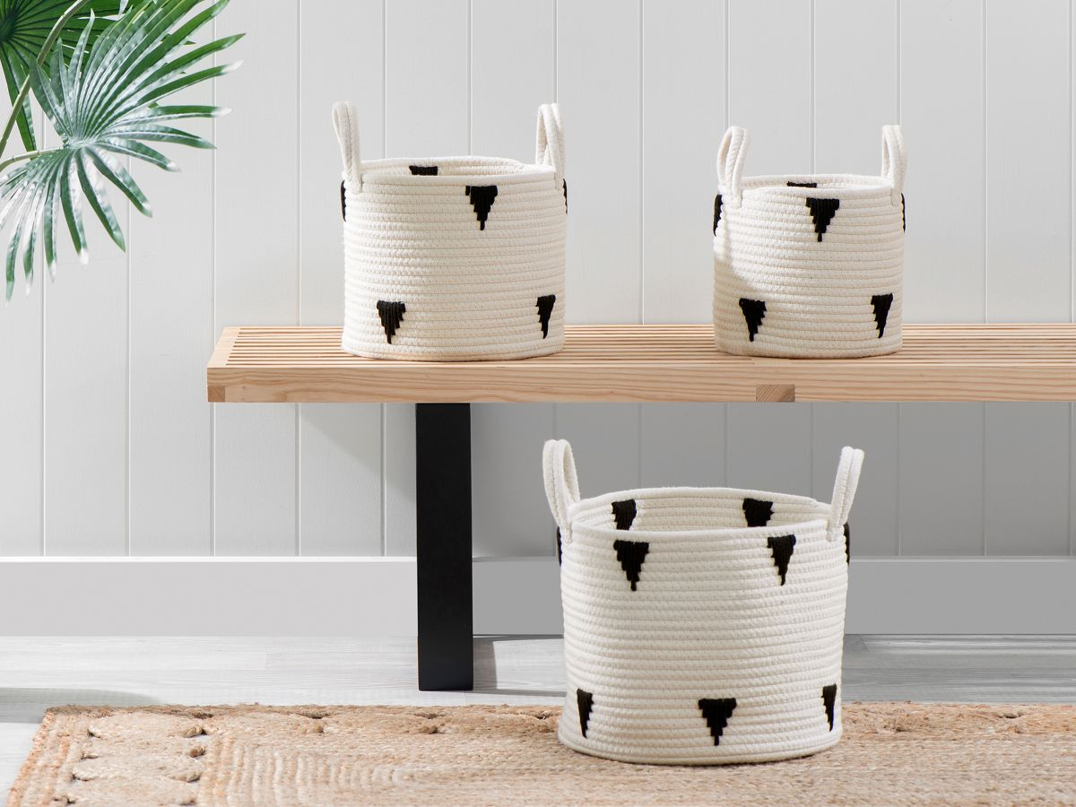 Ellana Round Baskets - Set of 3 - White/Black