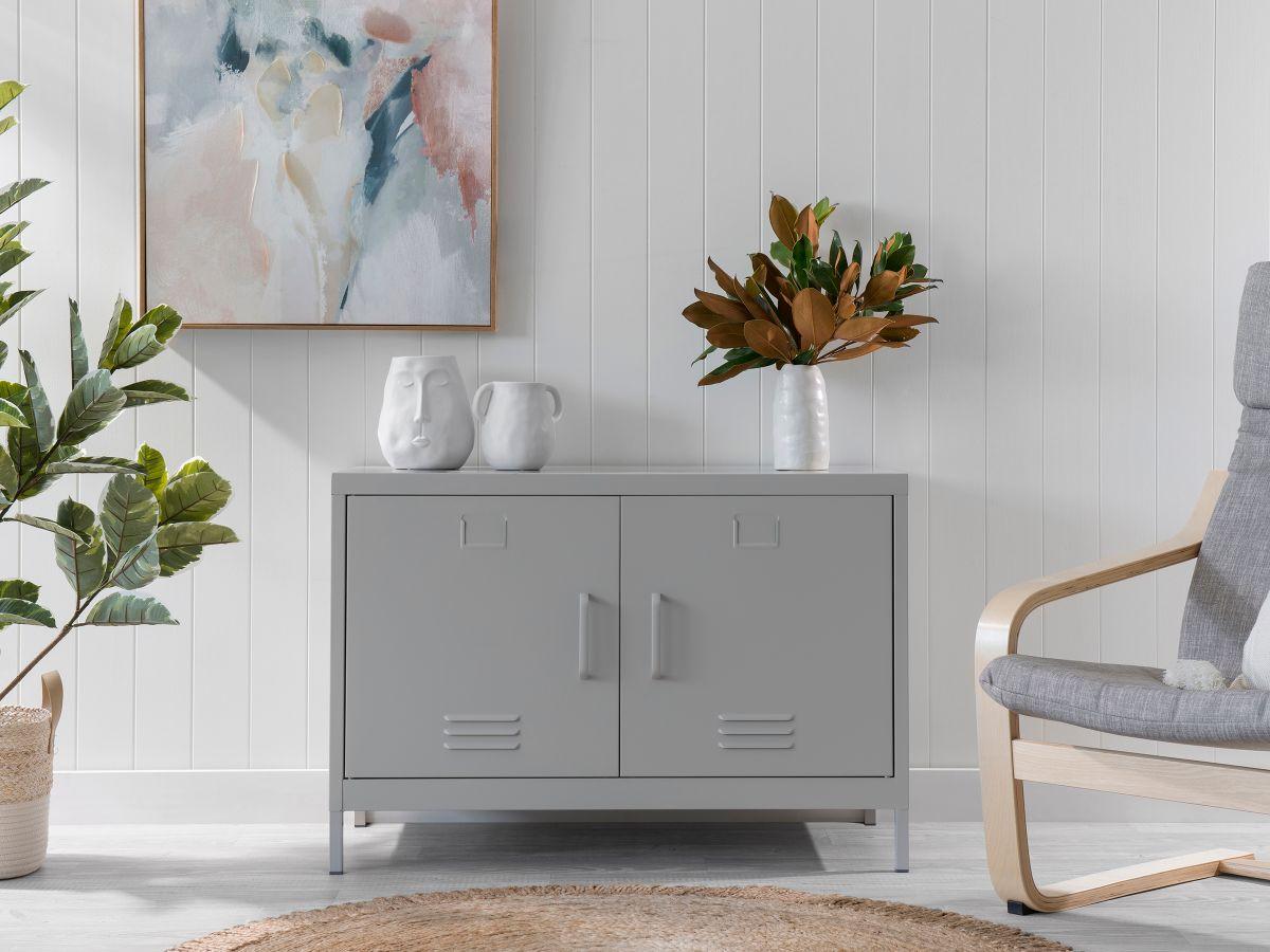 Two Door Storage Locka - Light Grey