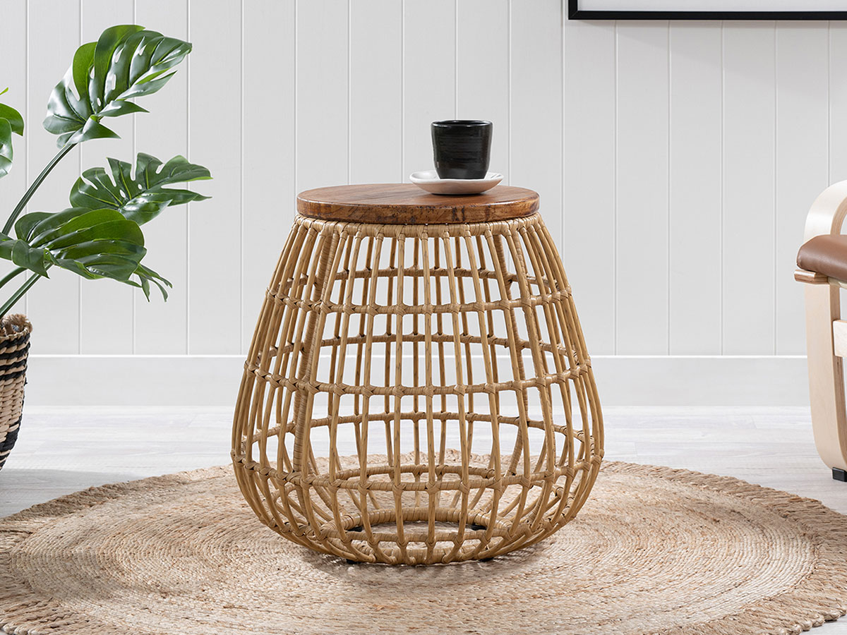 Natia Rattan Look Side Table