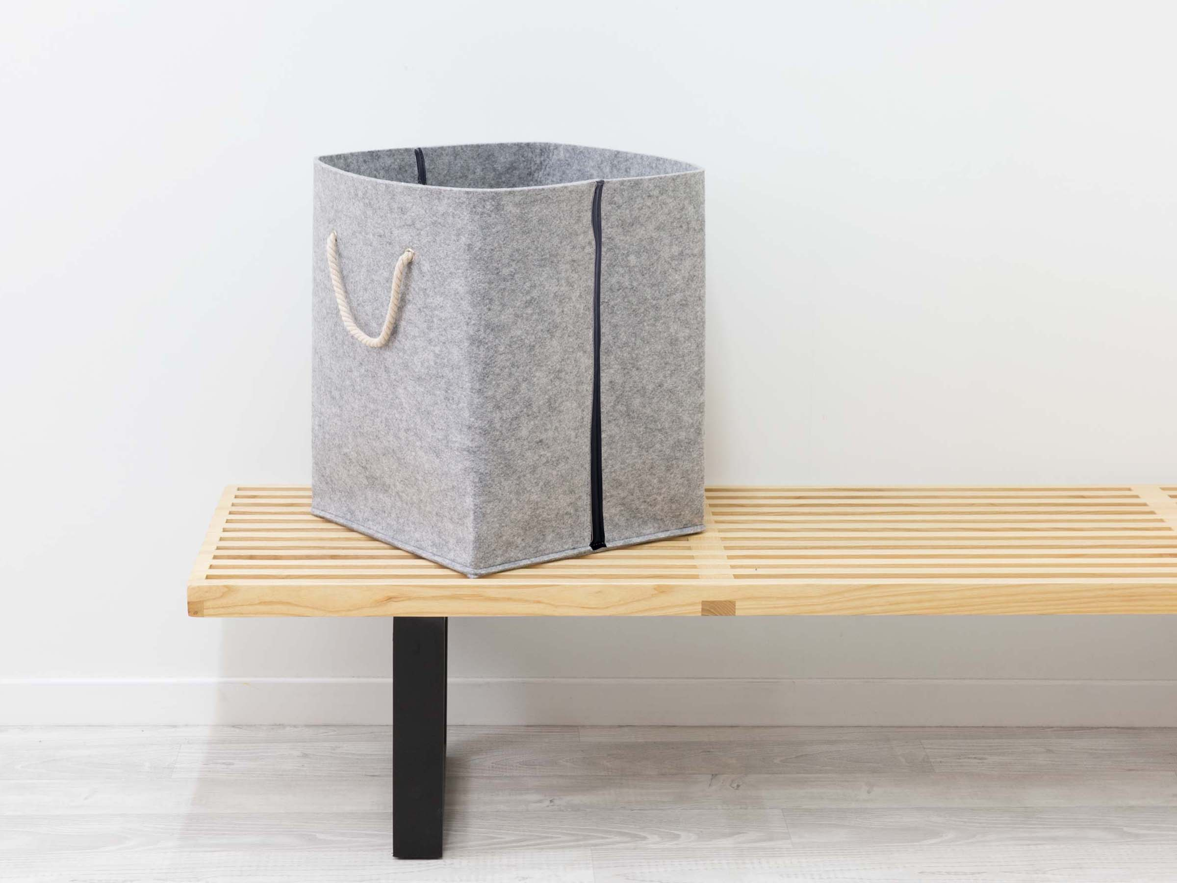 Felt Basket - Grey / Black Stripe