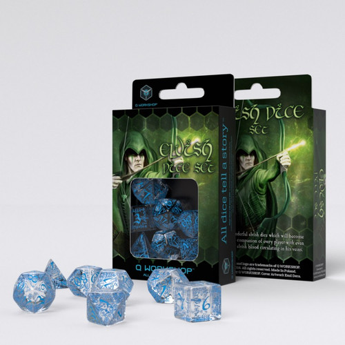 Q-Workshop - Elven - Set of 7 Polyhedral Dice - Translucent/Blue