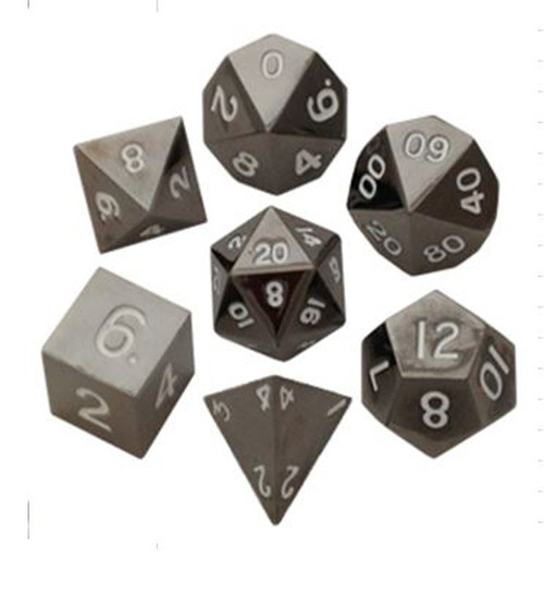 Metallic Dice Games - 16mm Polyhedral Dice  (Set of 7) - Sterling Grey