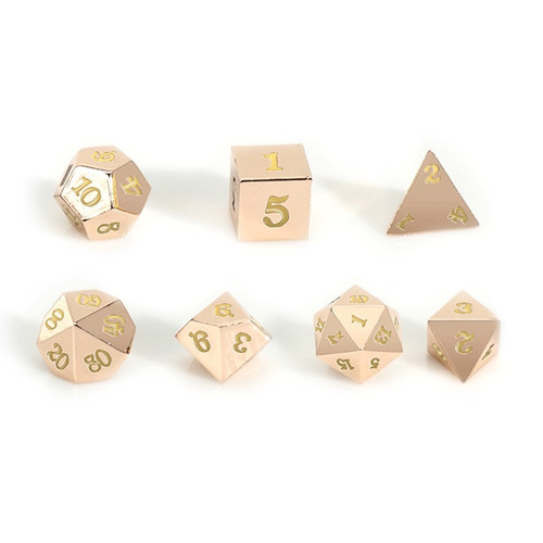 Easy Roller - 16mm Rose Gold RPG Dice (Set of 7) - Golden Yellow with Skull Case!