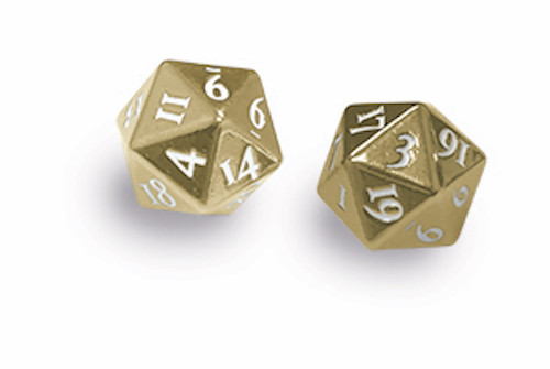 Ultra Pro -  D20 Heavy Metal Dice Set of two (2) - Gold Metal Finish