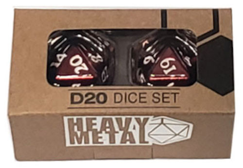 Ultra Pro - D20 Heavy Metal Dice Set of two (2) - Red Metal Finish