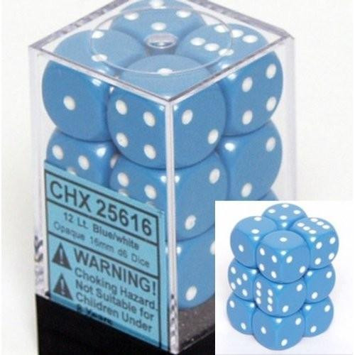 Chessex Dice - Opaque 16mm D6 Dice Light blue/White Pips (12 count)