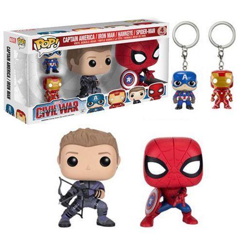 Pocket POP! 4-Pack - Marvel Avengers - Spiderman, Iron Man, Hawkeye & Cap America!