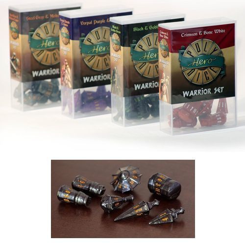 Polyhero Dice - Warrior Set - Steel Gray with Molten Copper Pips (Set of 7)