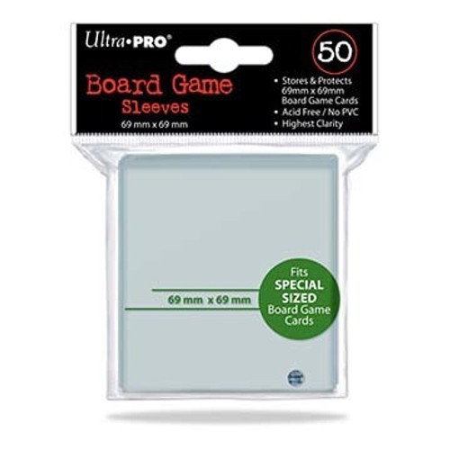 Ultra Pro Deck Protector  - SPECIAL Size 69mm x 69mm Board Game Card Sleeves - 50 Count - CLEAR - POWER GRID