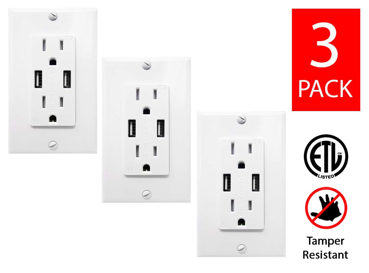 Pack of 2 USB Outlet 4.2 Amps Fast Charge 15 Amps Receptacle
