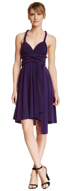 Short Convertible Dress - Eggplant