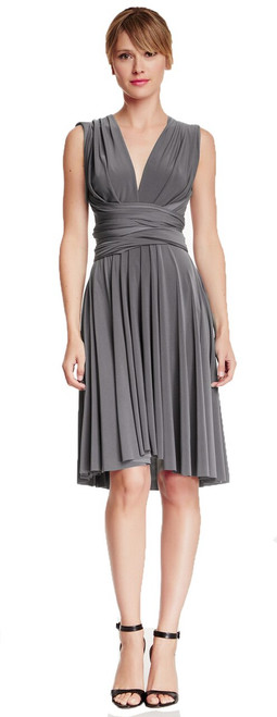 Short Convertible Dress - Grey
