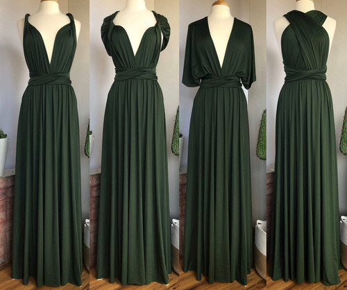 Maxi Convertible Dress - Forest Green