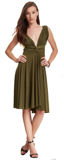 Short Convertible Dress - Olive
