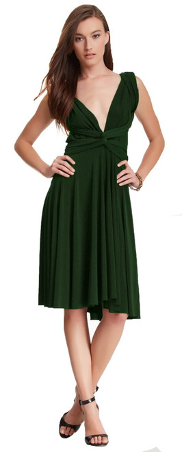 Short Convertible Dress - Forest Green