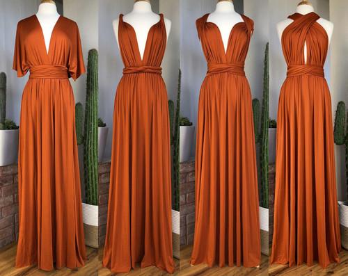 Maxi Convertible Dress - Burnt Orange