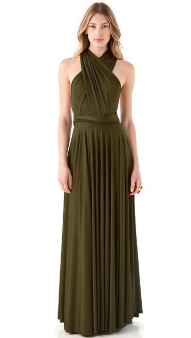 Maxi Convertible Dress - Dark Olive