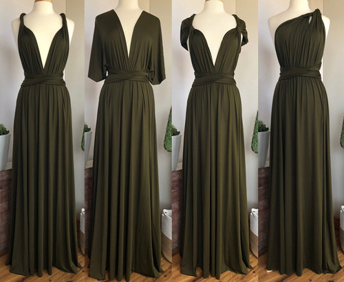 Maxi Convertible Dress - Dark Olive