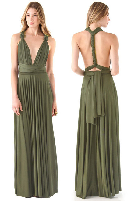 Maxi Convertible Dress - Light Olive