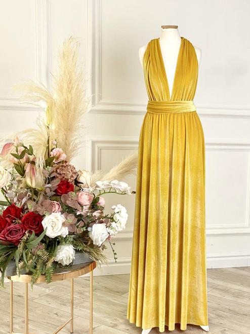 Velvet convertible Dress - Mustard