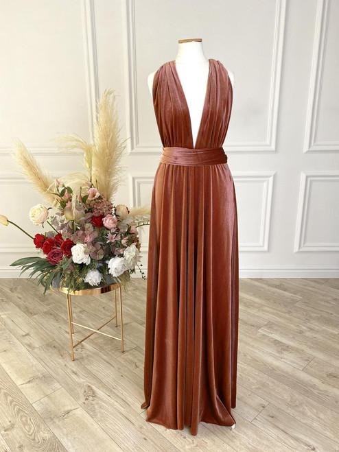 Velvet convertible Dress - Copper