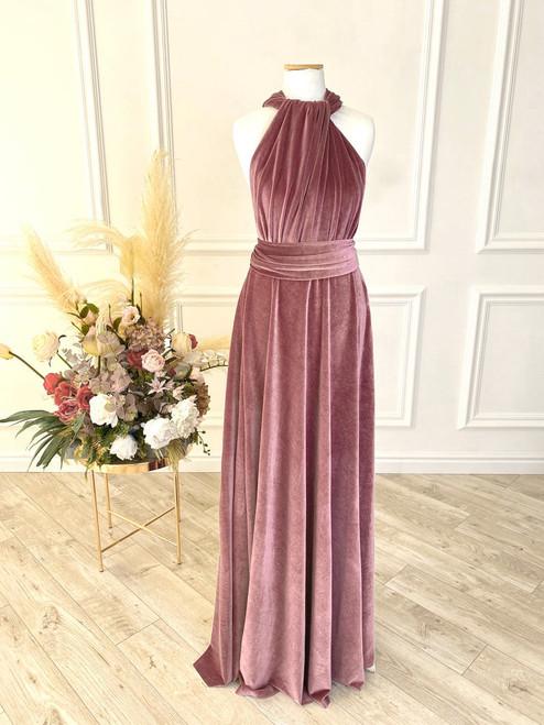 Velvet convertible Dress - Mauve