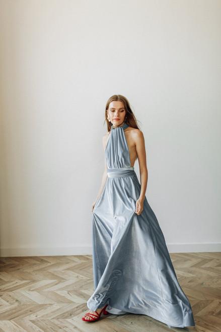 Velvet convertible Dress - Ice Blue