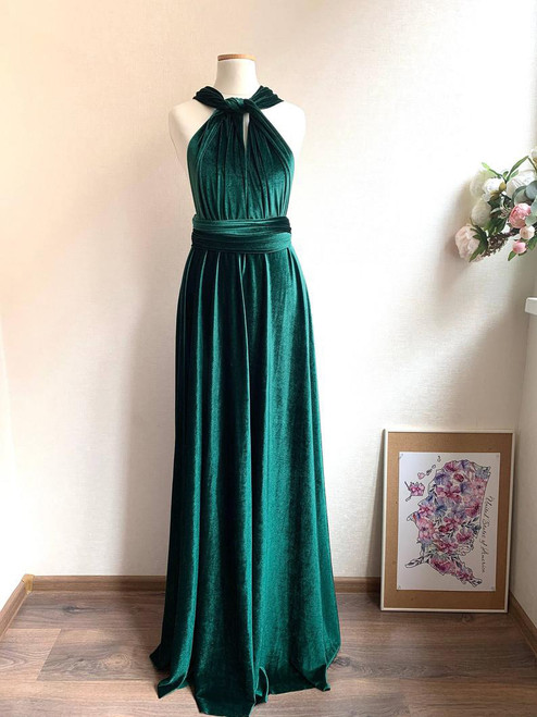 Velvet convertible Dress - Emerald