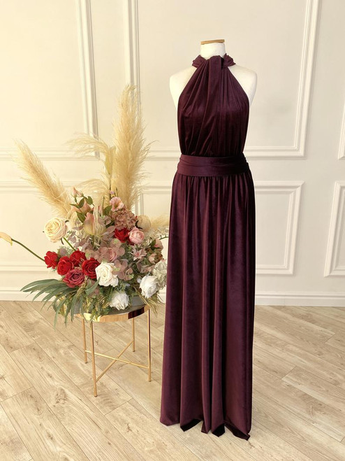 Velvet convertible Dress - Plum