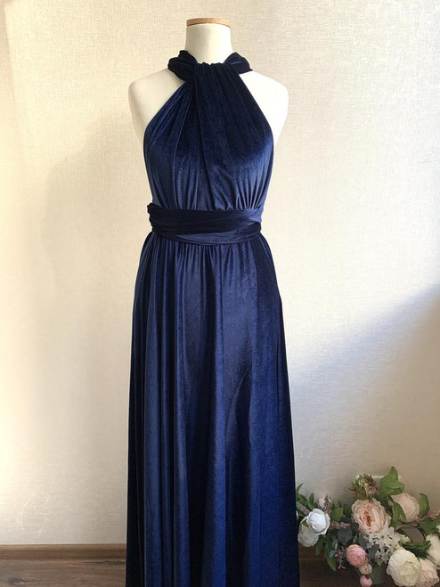 Velvet convertible Dress - Navy