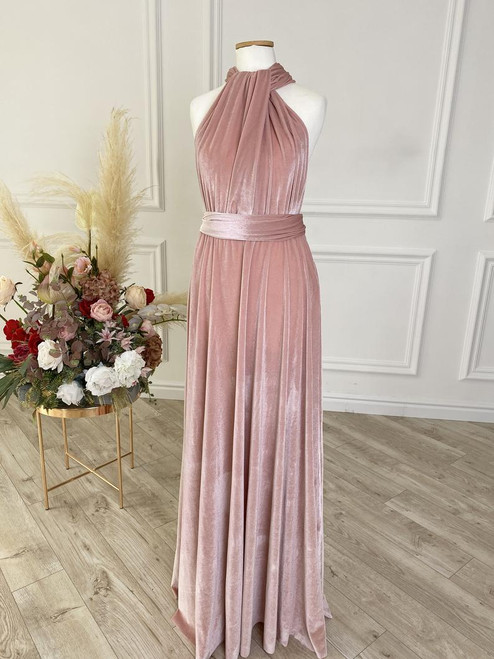 Velvet convertible Dress - Pink Champagne