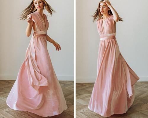 Velvet convertible Dress - Pink Champagne