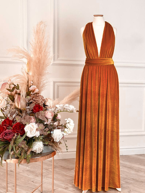 Velvet convertible Dress - Burnt Orange