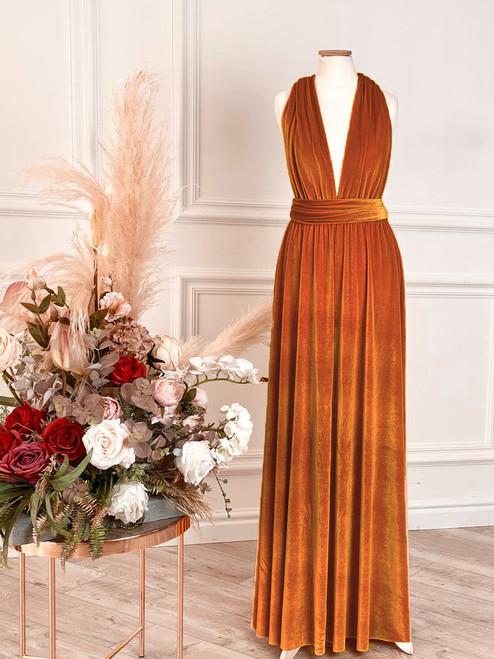 Velvet convertible Dress - Burnt Orange