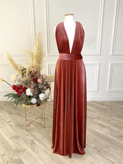 Velvet convertible Dress - Rust