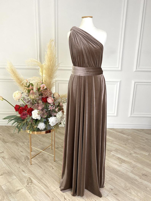 Velvet convertible Dress - Taupe