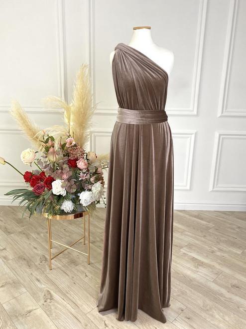 Velvet convertible Dress - Taupe