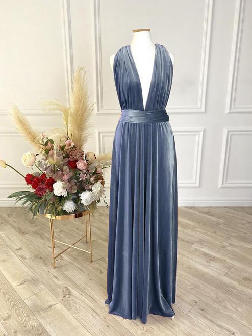 Velvet convertible Dress - Steel Blue