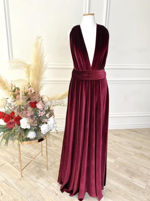Velvet convertible Dress - Wine