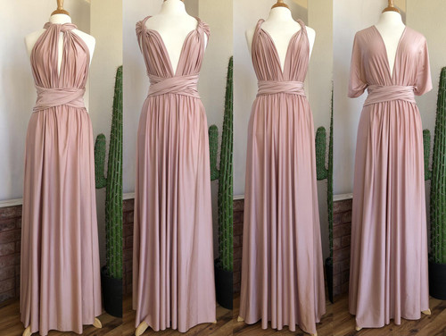 SHIMMER Maxi Convertible Dress - Blush