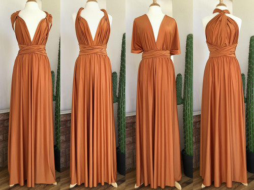 SHIMMER Maxi Convertible Dress - Burnt Orange